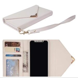 Accessories - IPHONE XS WALLET FOLIO LEATHER CASE WHITE GOLD